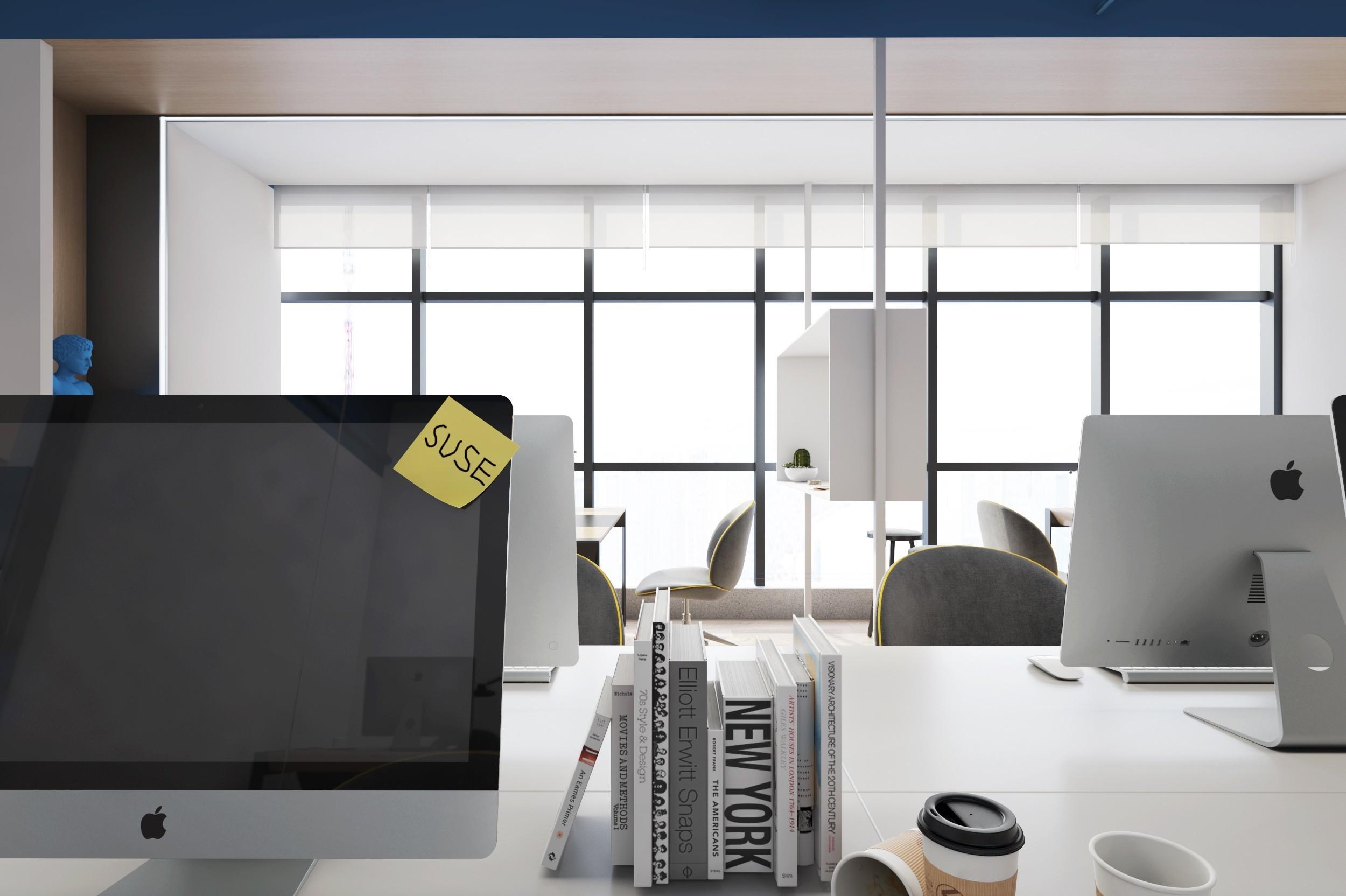 彩色调办公室设计效果图