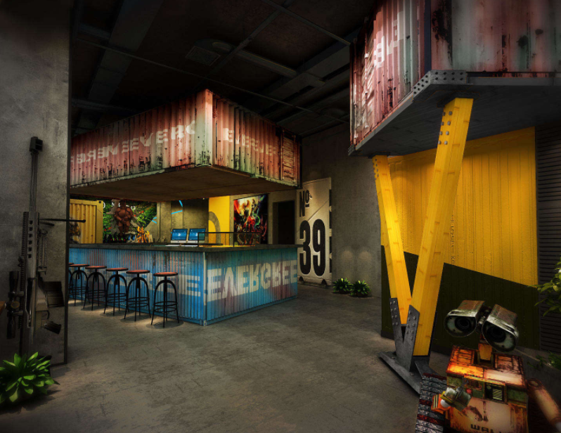 工业风游戏动漫网咖室内装修案例