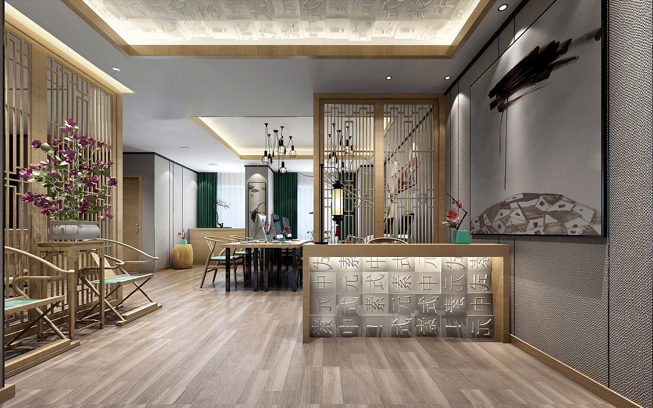 时尚新中式办公室装修设计效果图赏析